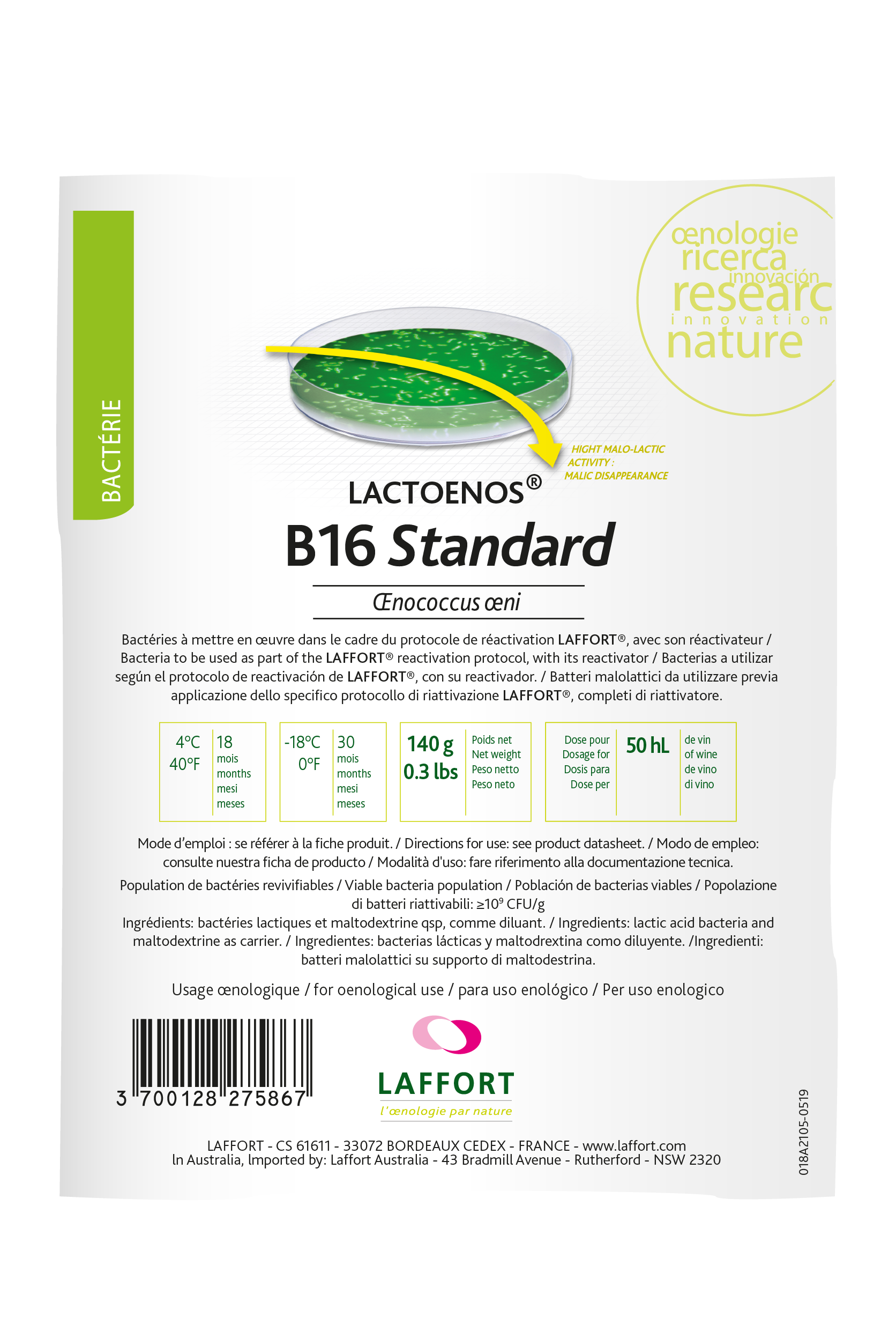 LACTOENOS® B16 STANDARD AND ITS REACTIVATOR